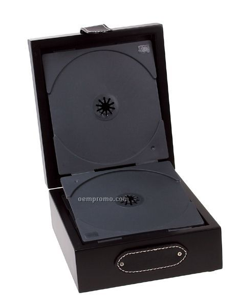 Black Wooden CD/DVD Box With Leather Top