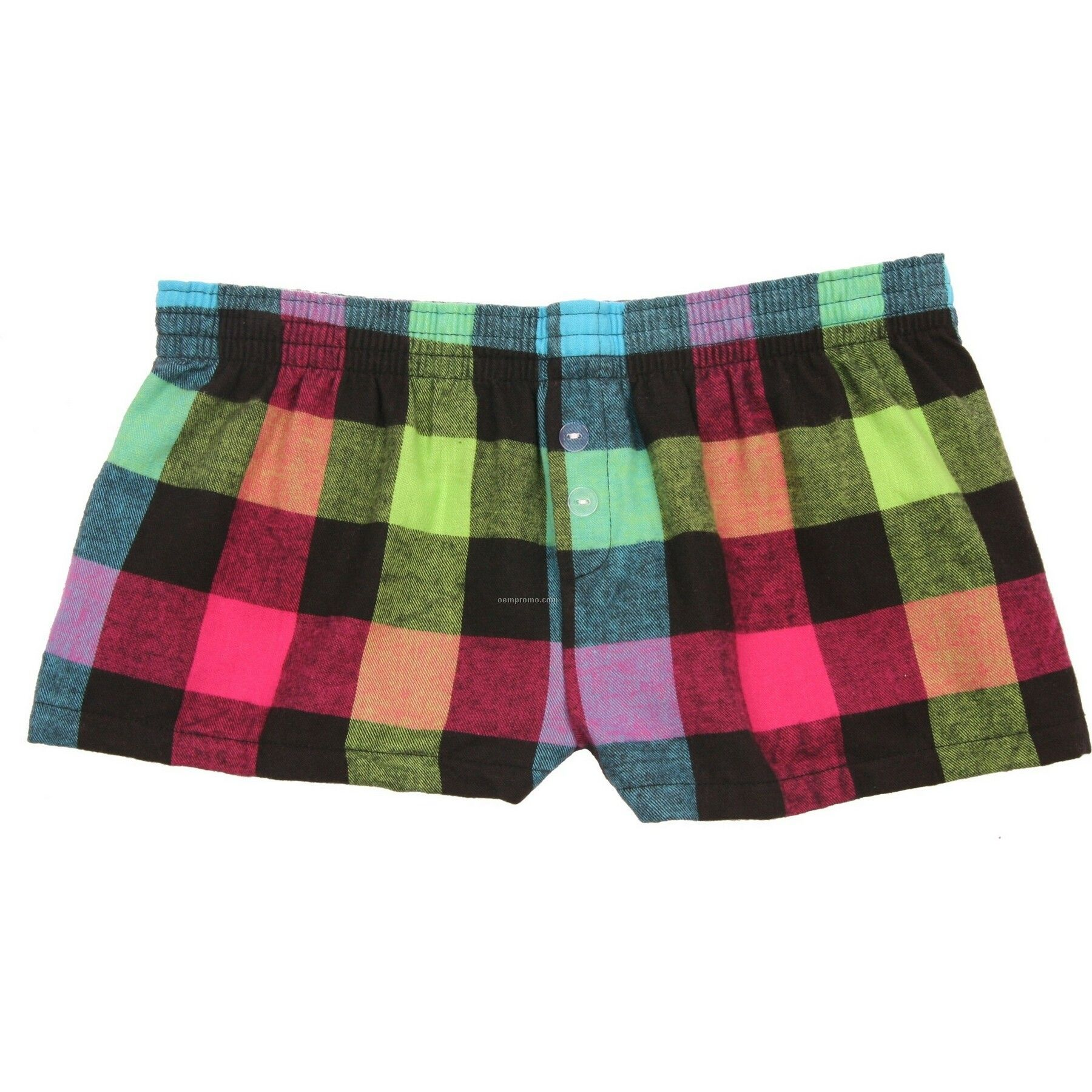 Youth Neon Flannel Bitty Boxer Short With False Fly