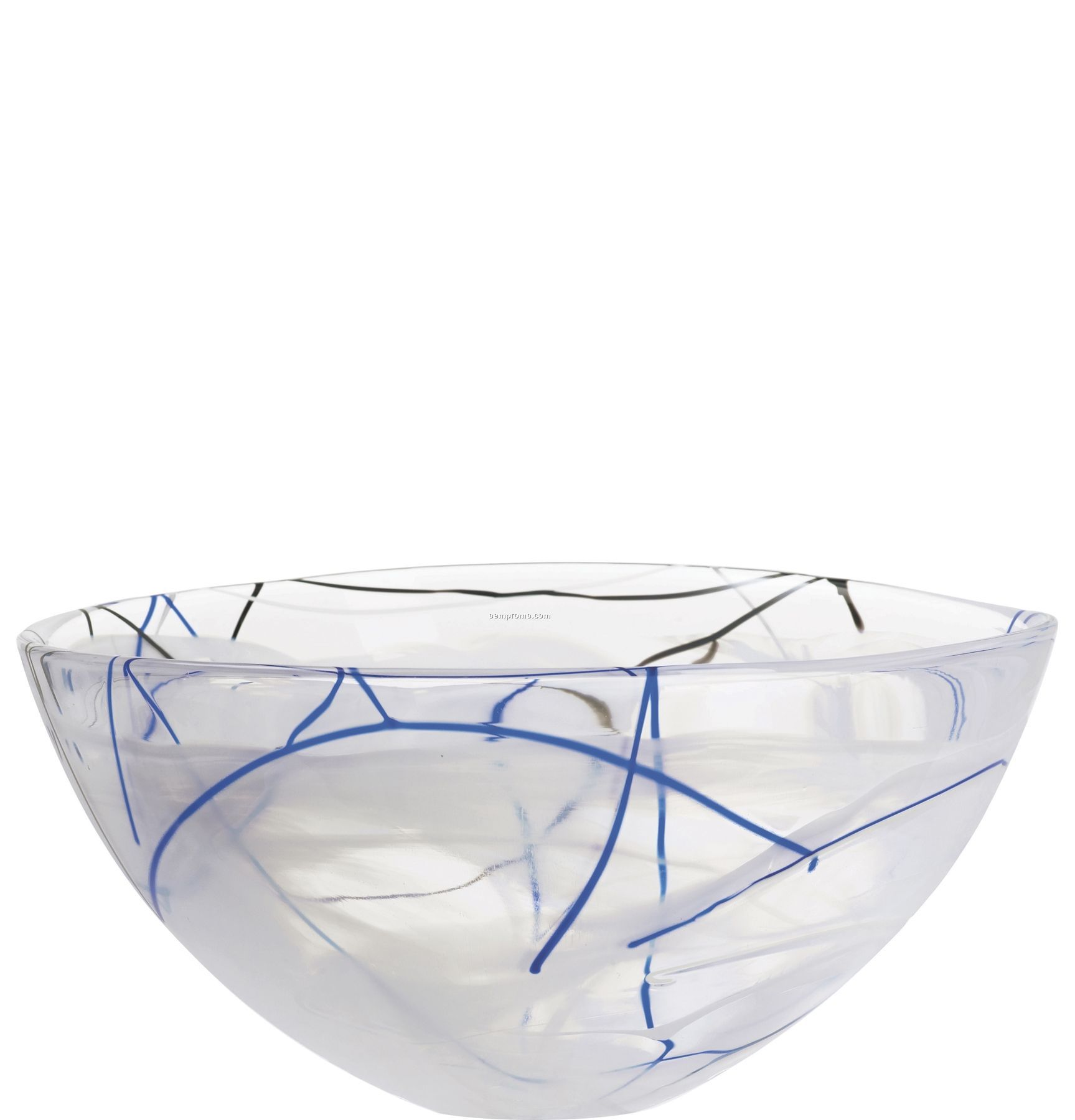Contrast Large Swirl Crystal Bowl By Anna Ehrner (White)