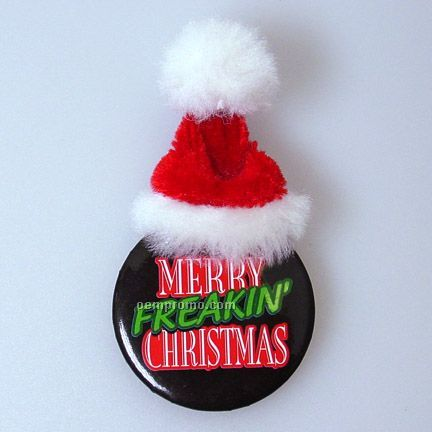 Metal Button With Santa Hat