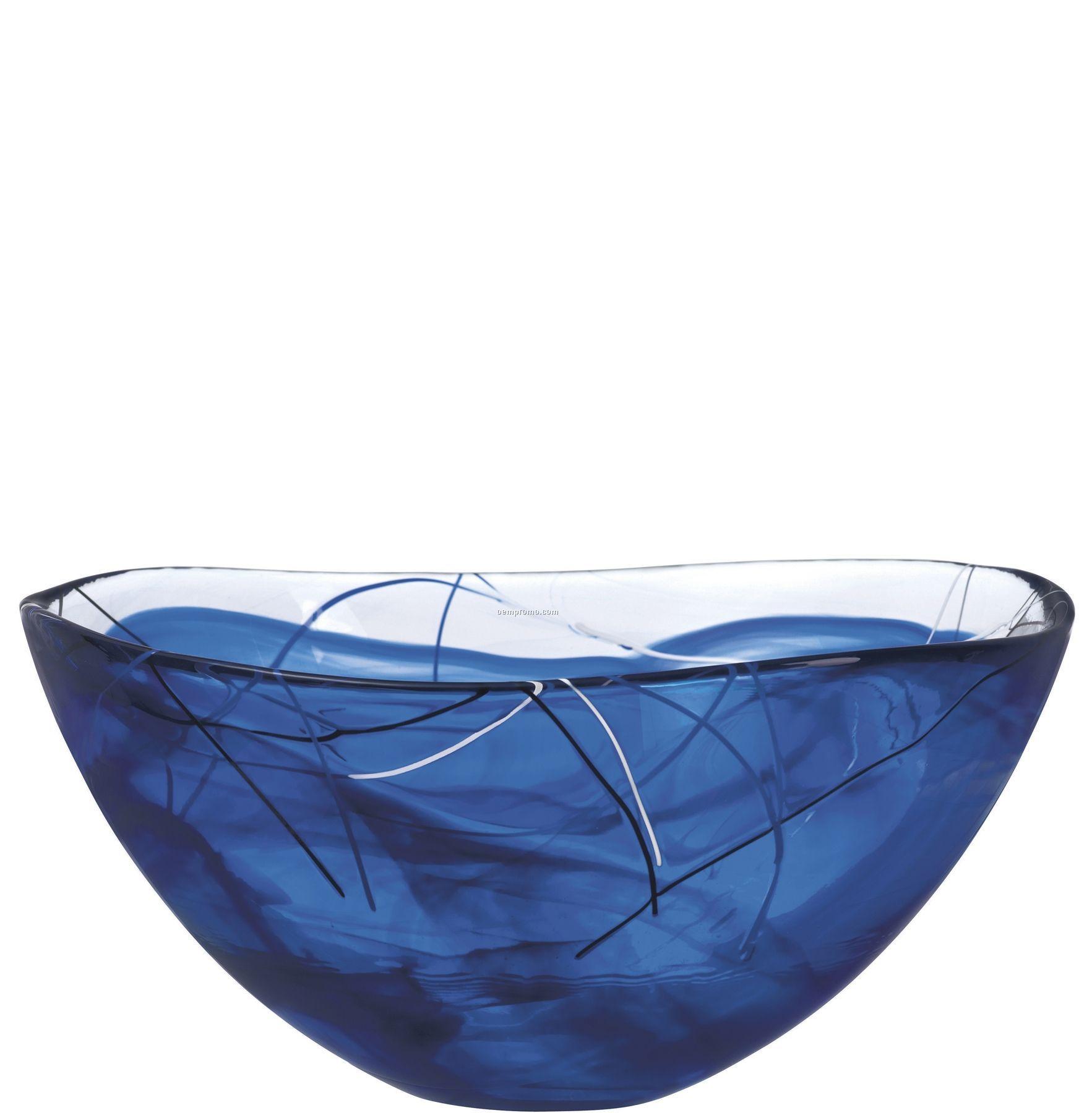 Contrast Large Swirl Crystal Bowl By Anna Ehrner (Blue)