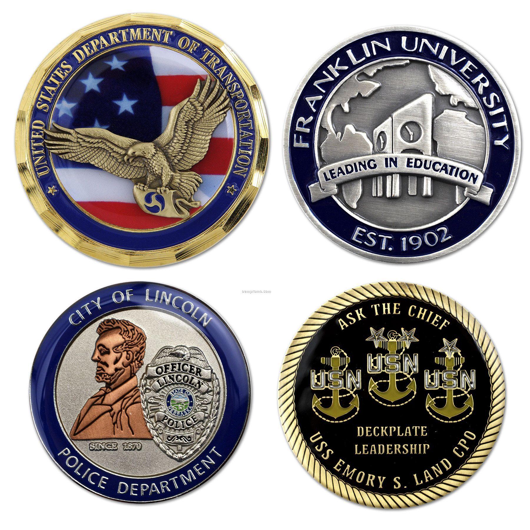 """Die Struck Brass Challenge Coin (1-3/4"""")"""