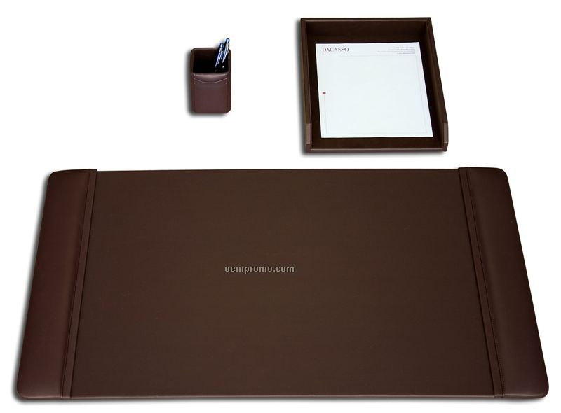 Chocolate Brown 3-piece Classic Leather Desk Set