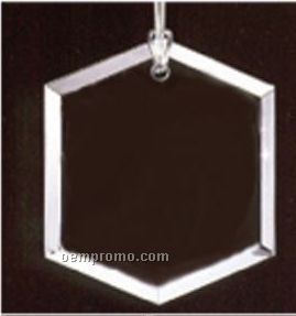 Classy Ornamentals. Beveled Hexagon Starfire Glass Ornament W/Hole To Hang.