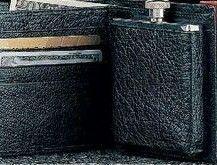 Stainless Steel Flask In Black Buffalo Leather Wallet