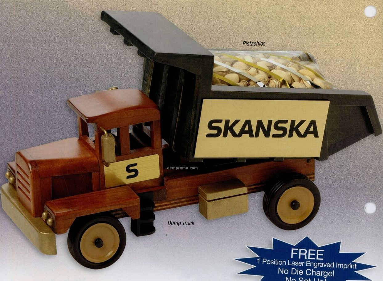 Wooden Dump Truck W/ Chocolate Almonds