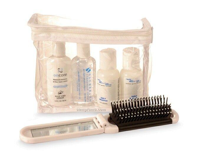 5 Piece Travel Kit W/ 1 Oz. Toiletries & Folding Mirror Brush