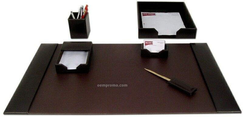 Brown 6-piece Econo-line Leather Desk Set