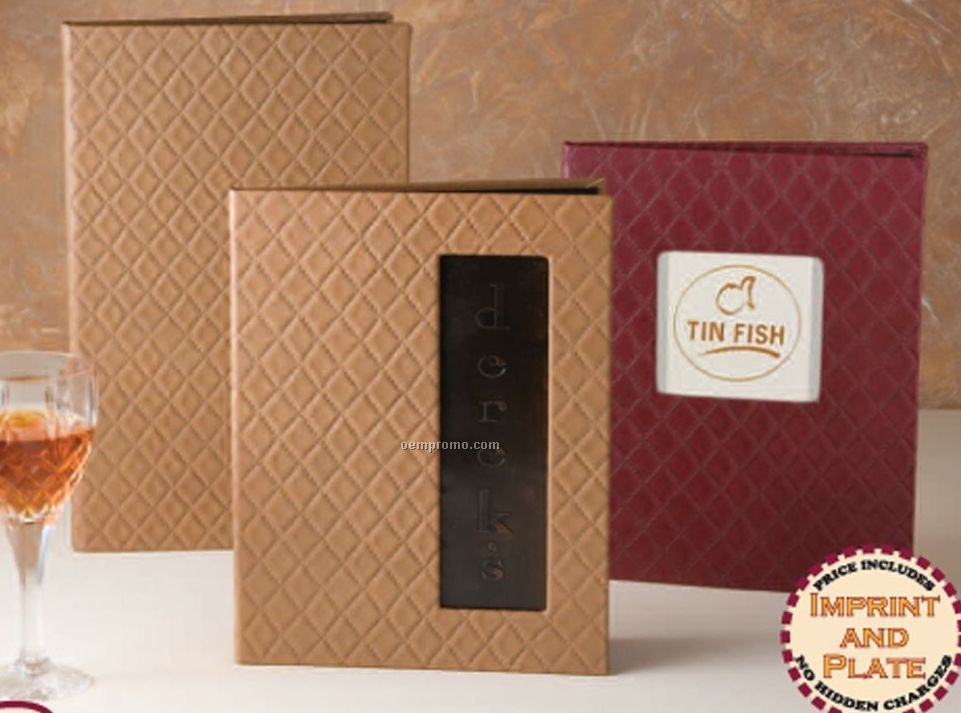 """Queensbury - Quilted Menu Cover 4-1/4""""X11"""" (Triple Book-4 Sheet)"""