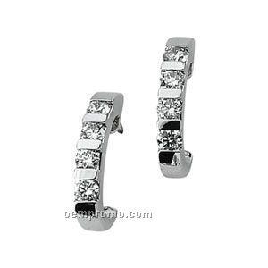 Ladies' 14kw 1/2 Ct Tw Diamond Round Earring