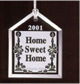 Classy Ornamentals. Beveled House Starfire Glass Ornament W/Hole To Hang.