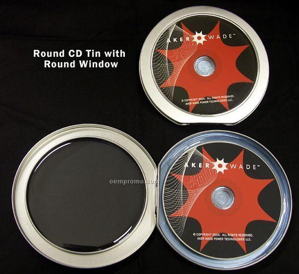 Deluxe Round CD Tin With Round Window