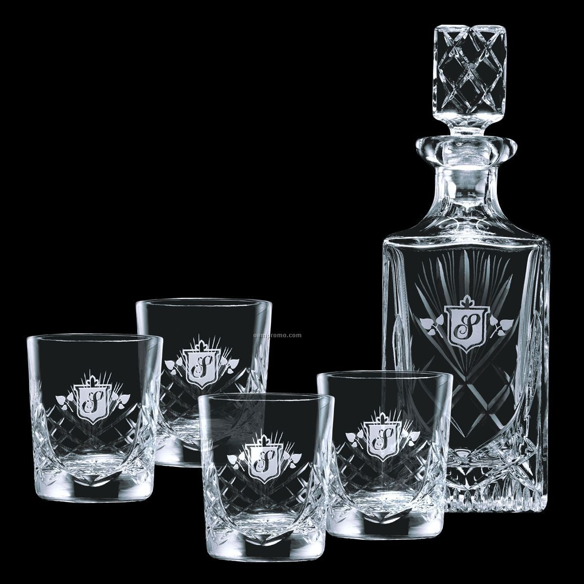 28 Oz. Cavanaugh Crystal Decanter & 4 Double Old Fashioned Glasses