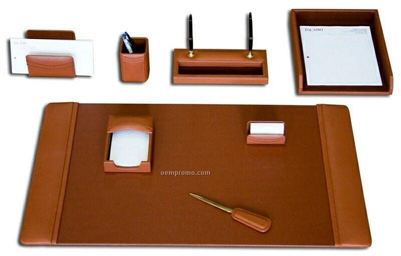Tan Brown 8-piece Classic Leather Desk Set