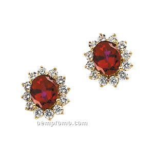 14ky 9x7 Chatham Created Ruby & 1-1/2 Ct Tw Diamond Round Earring