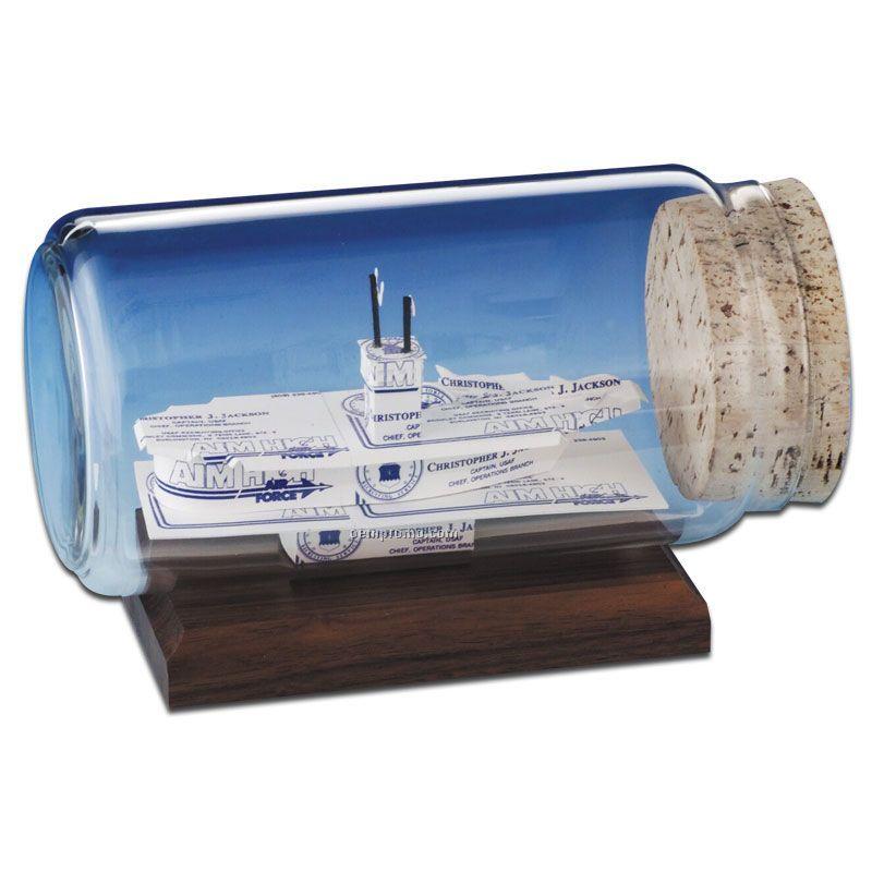 Business Card In A Bottle Sculpture - Aircraft Carrier
