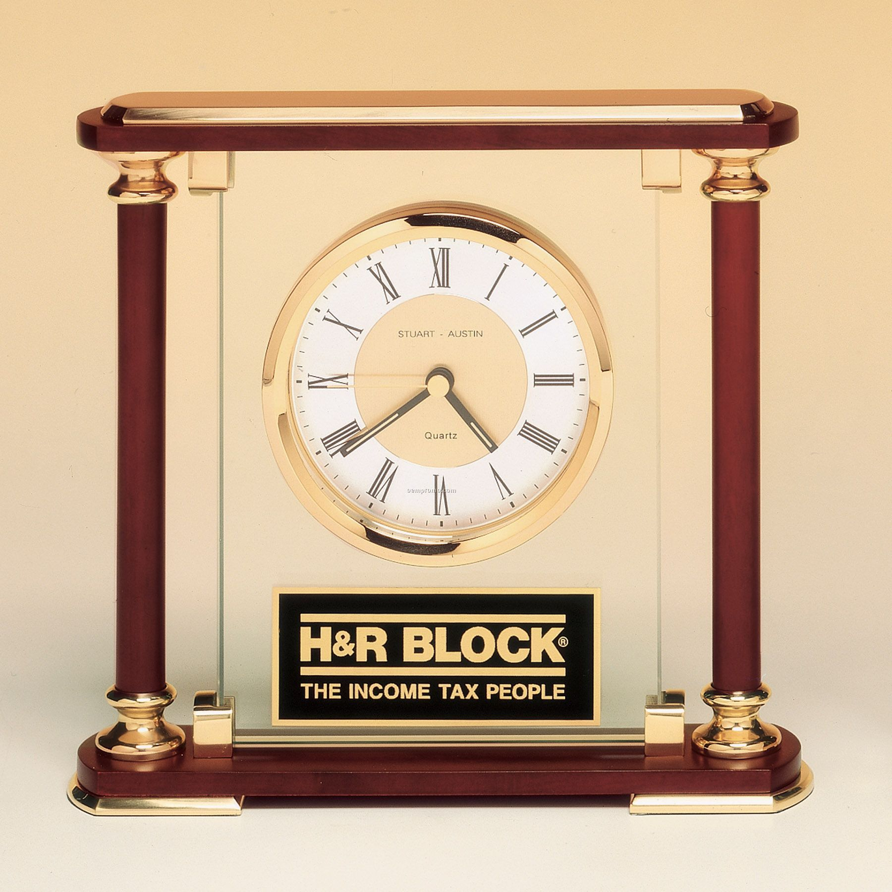 Desk Clock With Brass And Cherry Wood Finished Accents