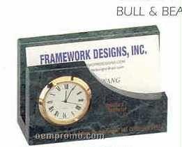 Green Marble Desk Accessories (Clock/Card Holder)