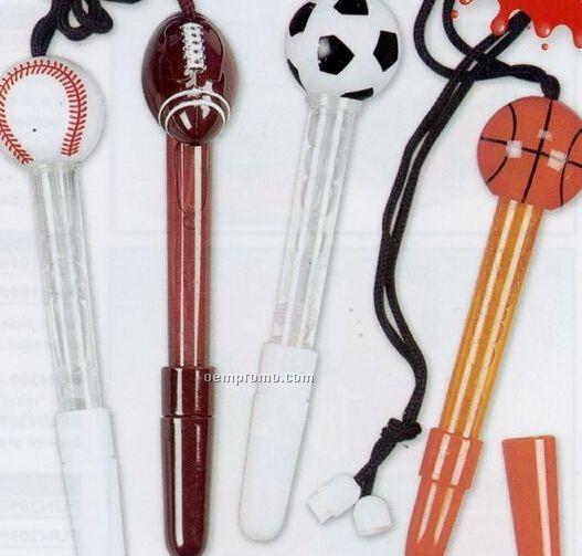 Sports Top Bubble Pen W/ Break Away Lanyard