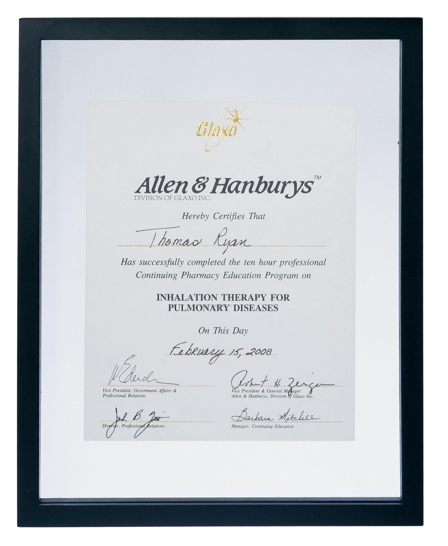 University Black Wood Certificate Frame