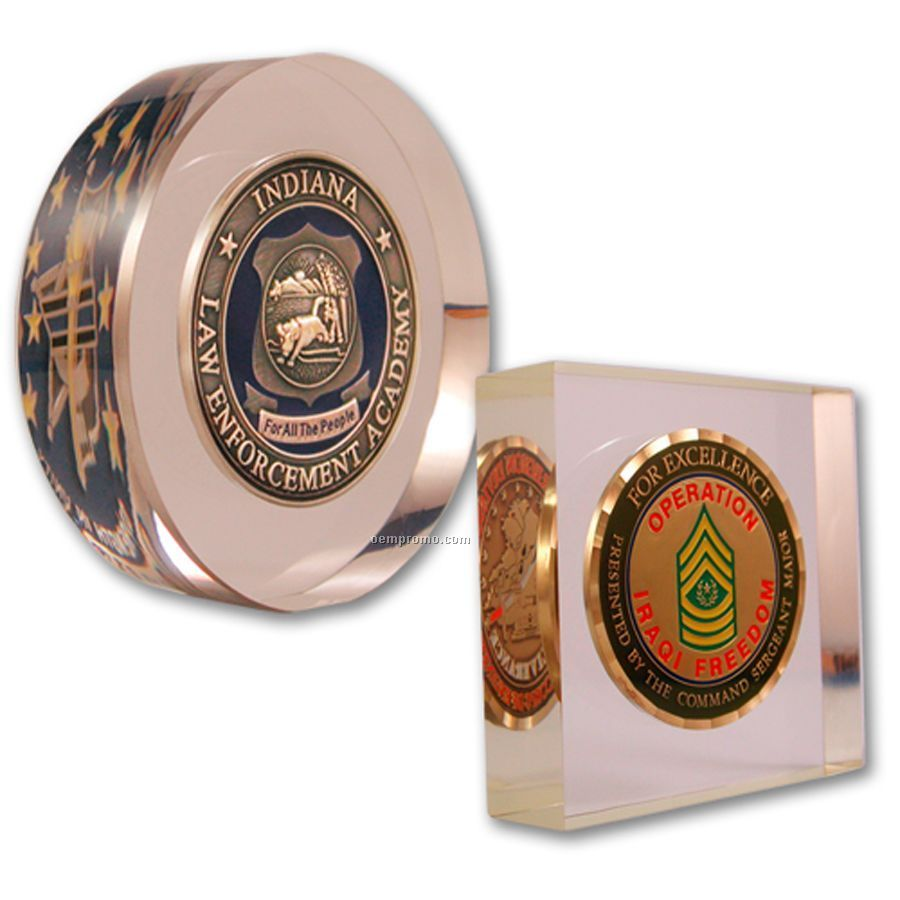"""Acrylic Embedment (2-1/2""""X4""""X3/4"""") With Coin"""