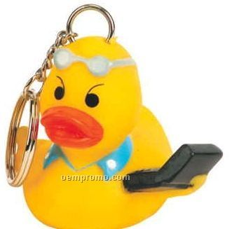 Rubber Hi-tech Duck Key Chain