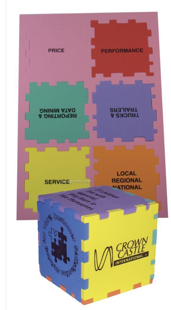 """Foam Desktop Puzzle Solid Cube - Mixed Colors (3"""")"""