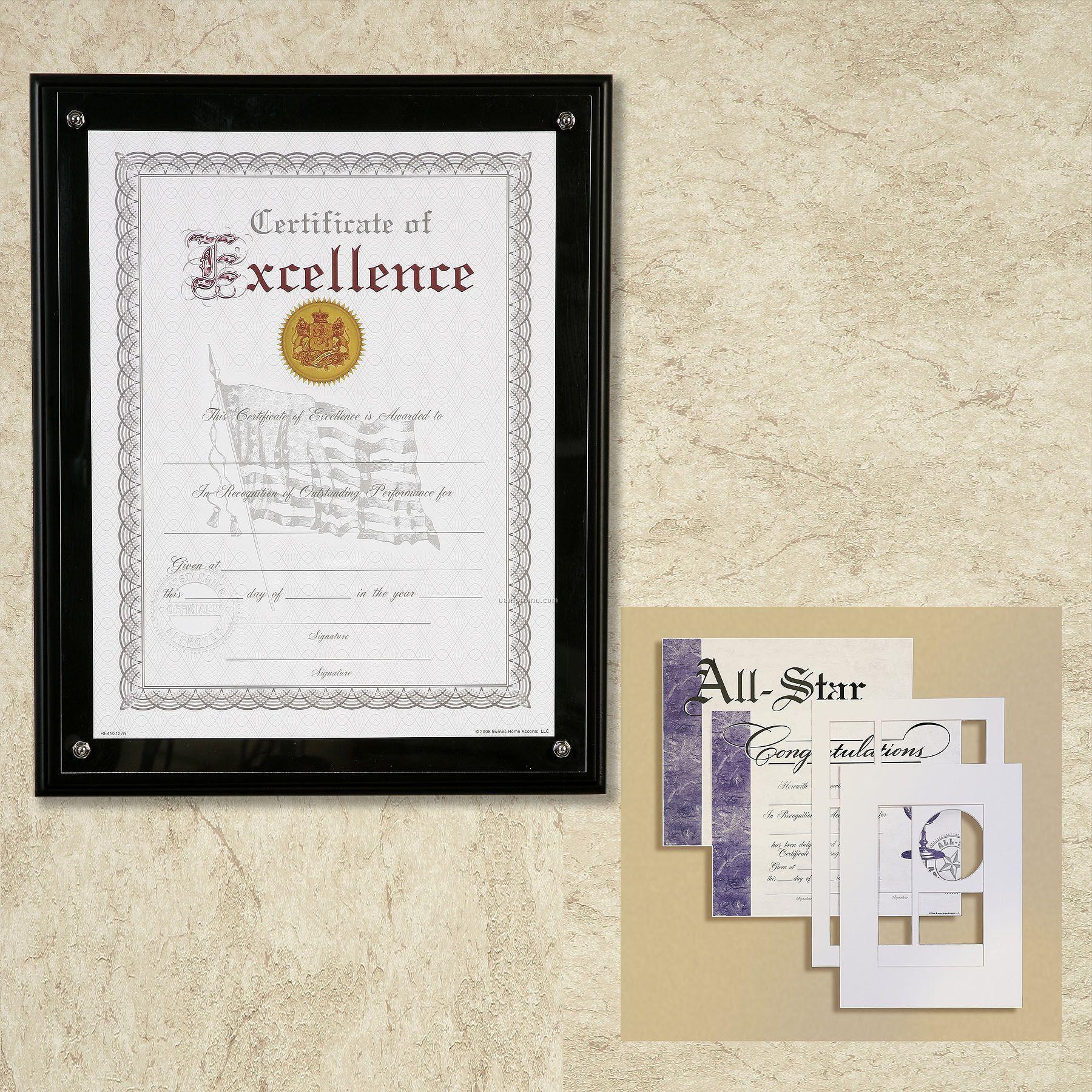 Pinnacle Matte Ebony Wood Certificate Holder