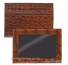 Black Crocodile Leather Credit Card / Id Wallet