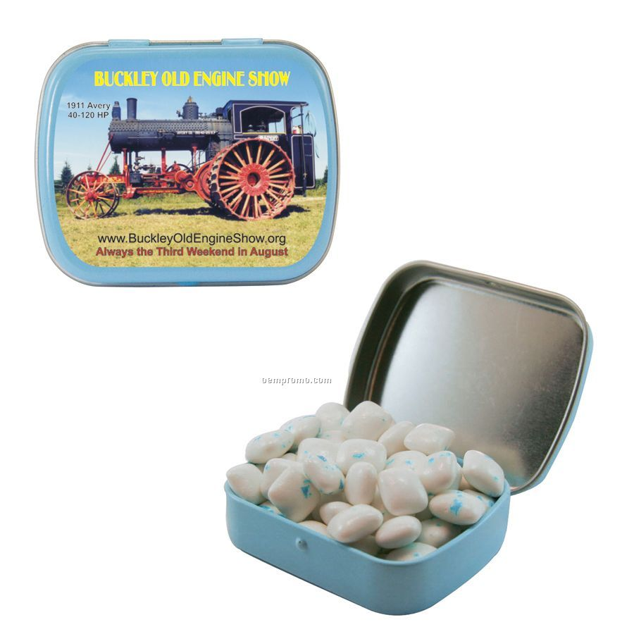 Small Light Blue Mint Tin Filled With Sugar Free Gum
