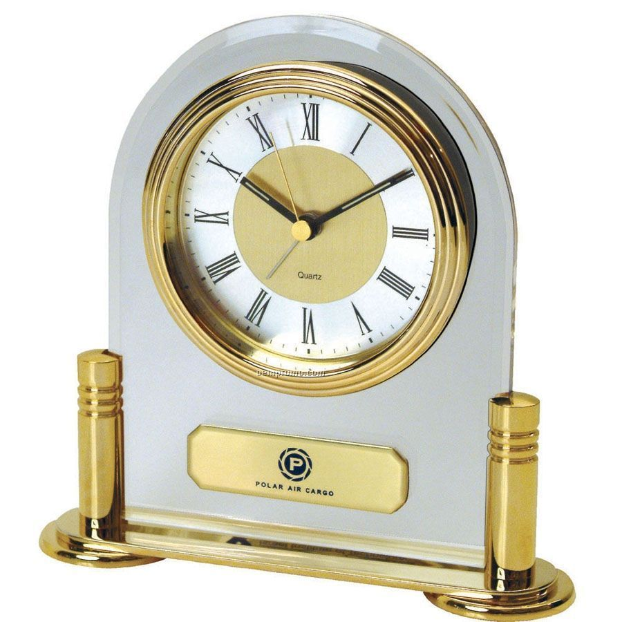 Brass & Acrylic Desk Alarm Clock