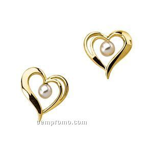 14ky 3mm Ladies' Cultured Pearl Heart Earring