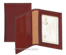 Black Italian Leather Business Card Case W/ Id Window