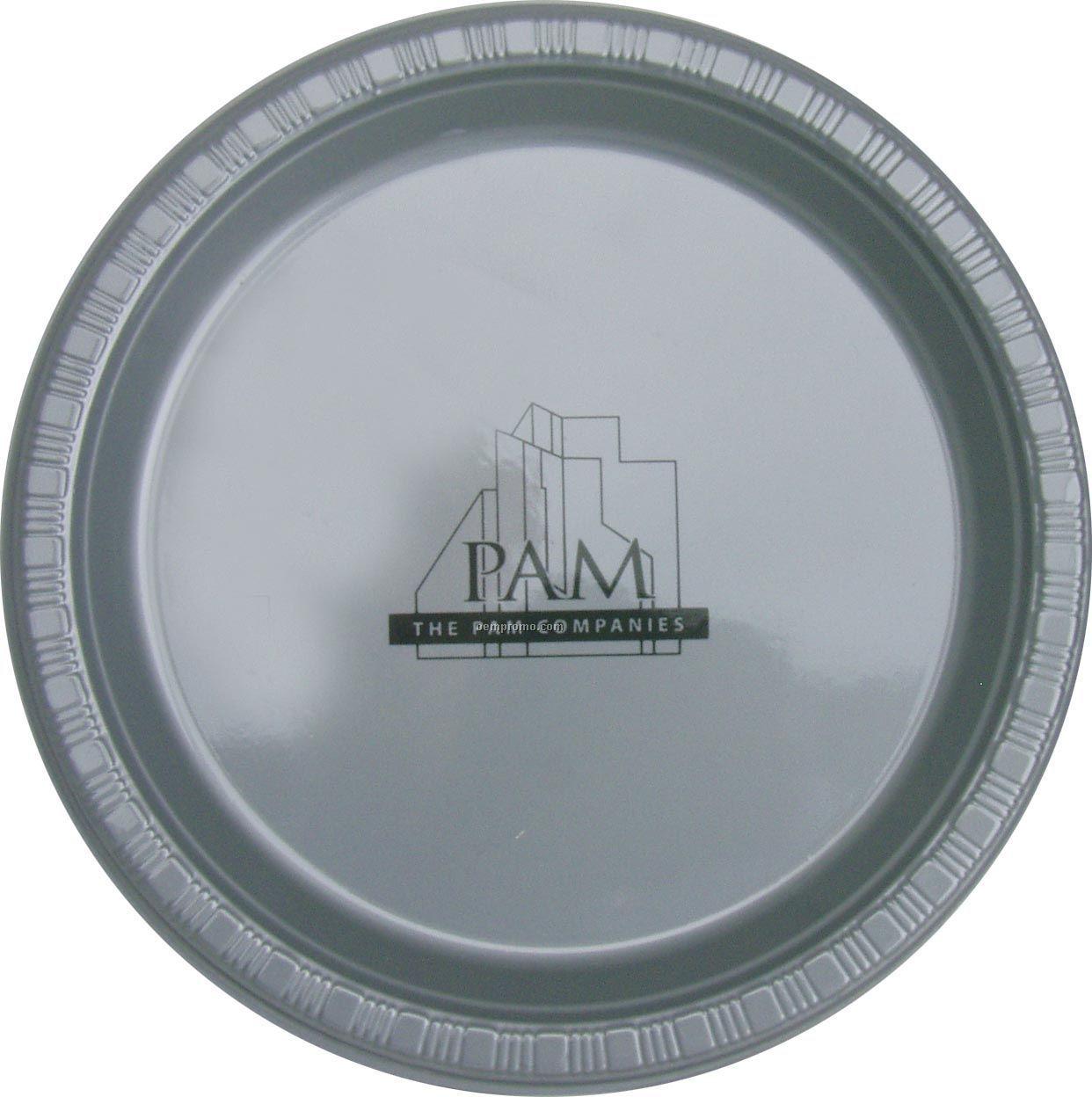 "Colorware 7"" Silver Gray/ Shimmering Silver Plastic Plate"