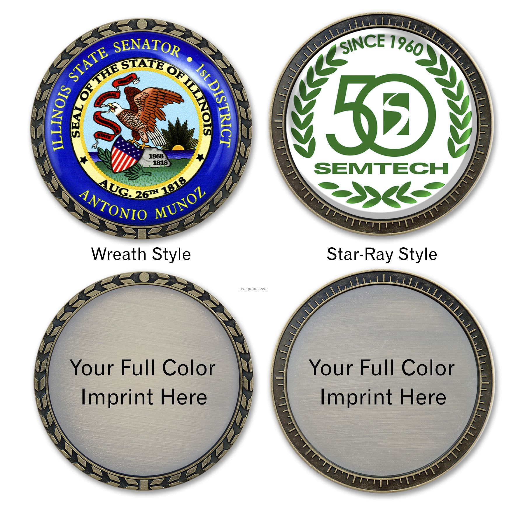 """Die Cast """"Speed"""" Challenge Coin With Full Color Imprint"""