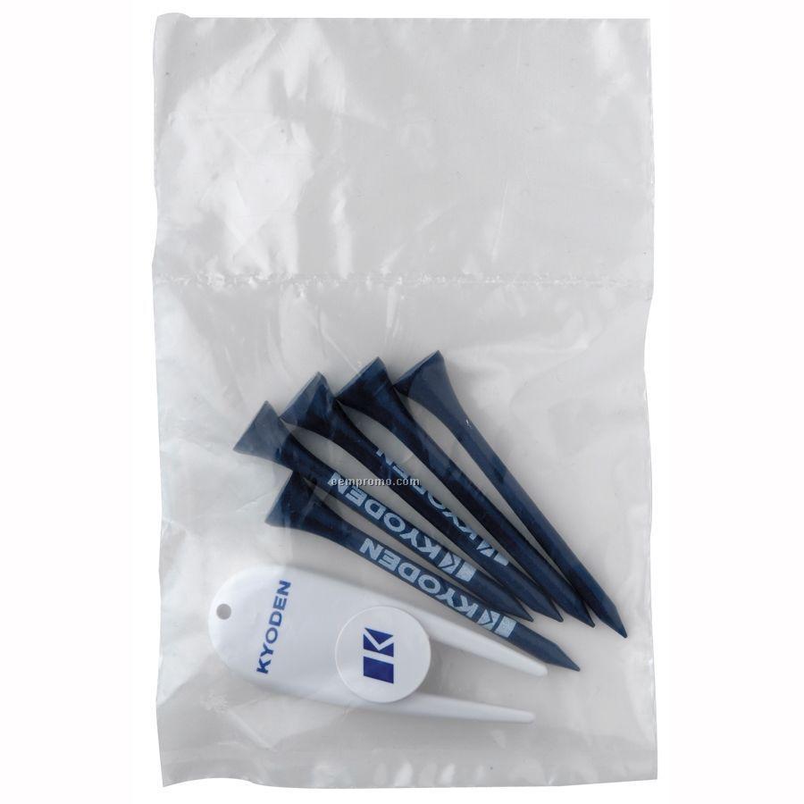Long Golf Tee Pack W/ 5 Tees & Divot Tool W/ Ball Marker
