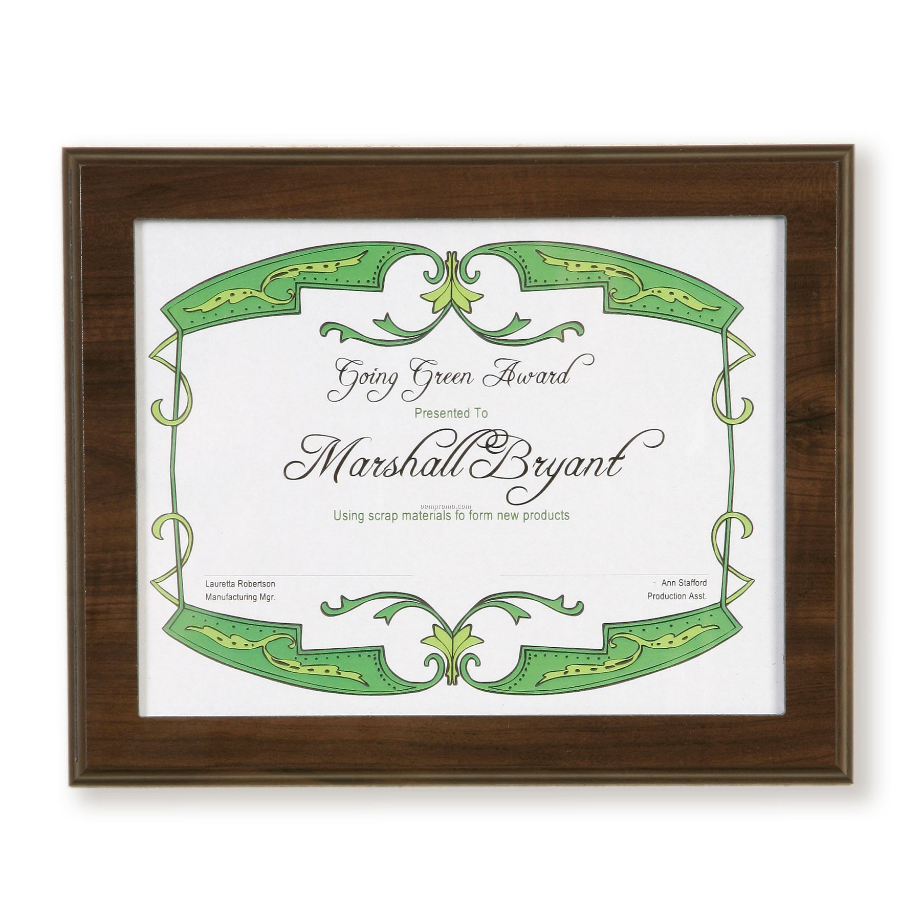 Prestige Simulated Walnut W/ Clear Acrylic Certificate Frame