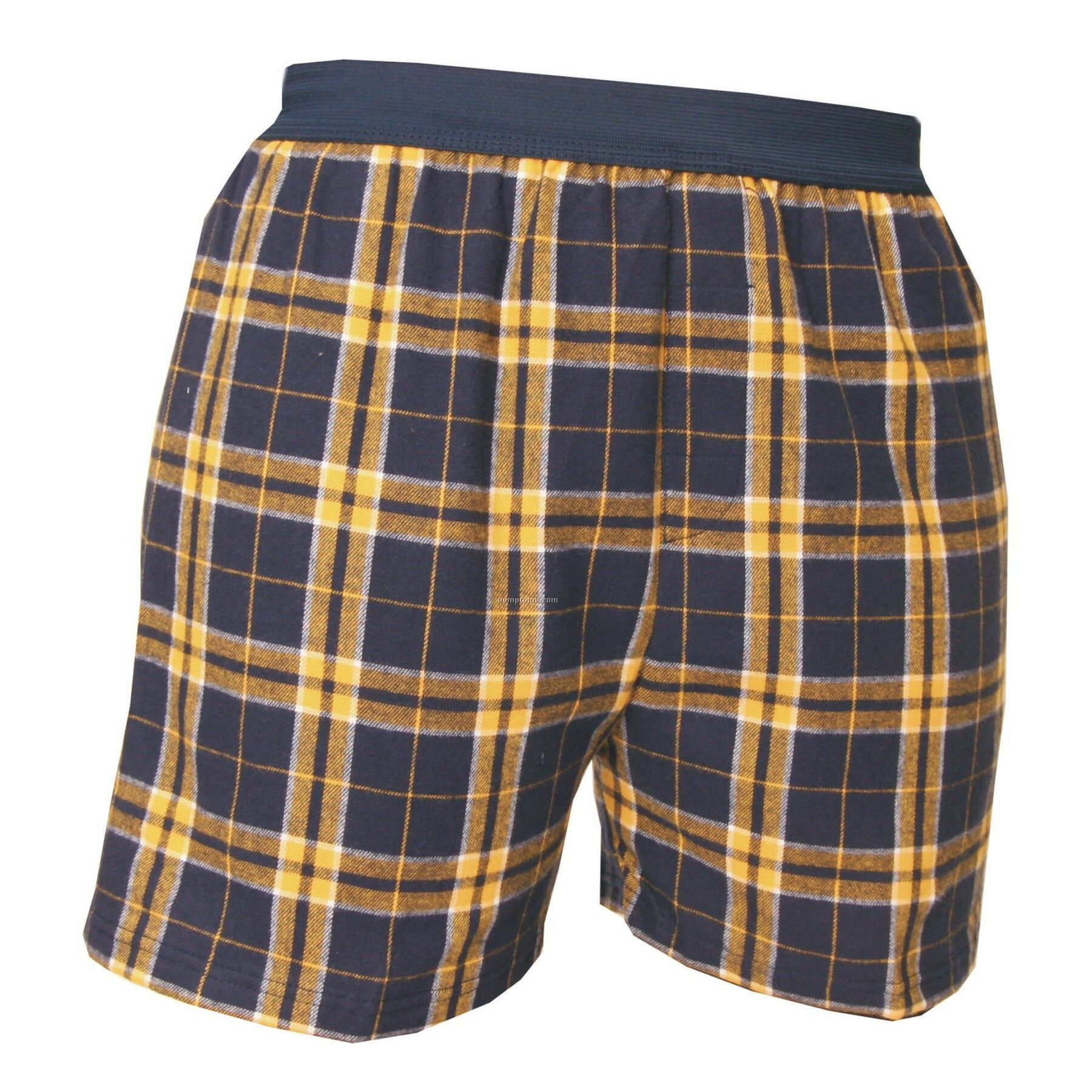 Youth Navy Blue/Gold Plaid Classic Boxer Short