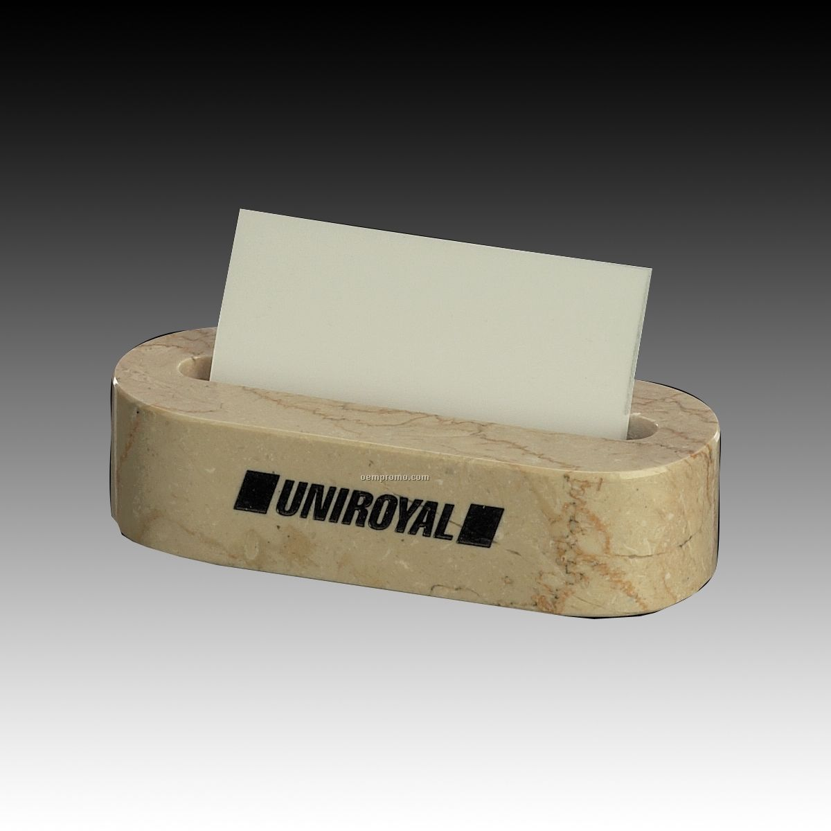 Boticino Beige Oval Genuine Marble Business Card Holder