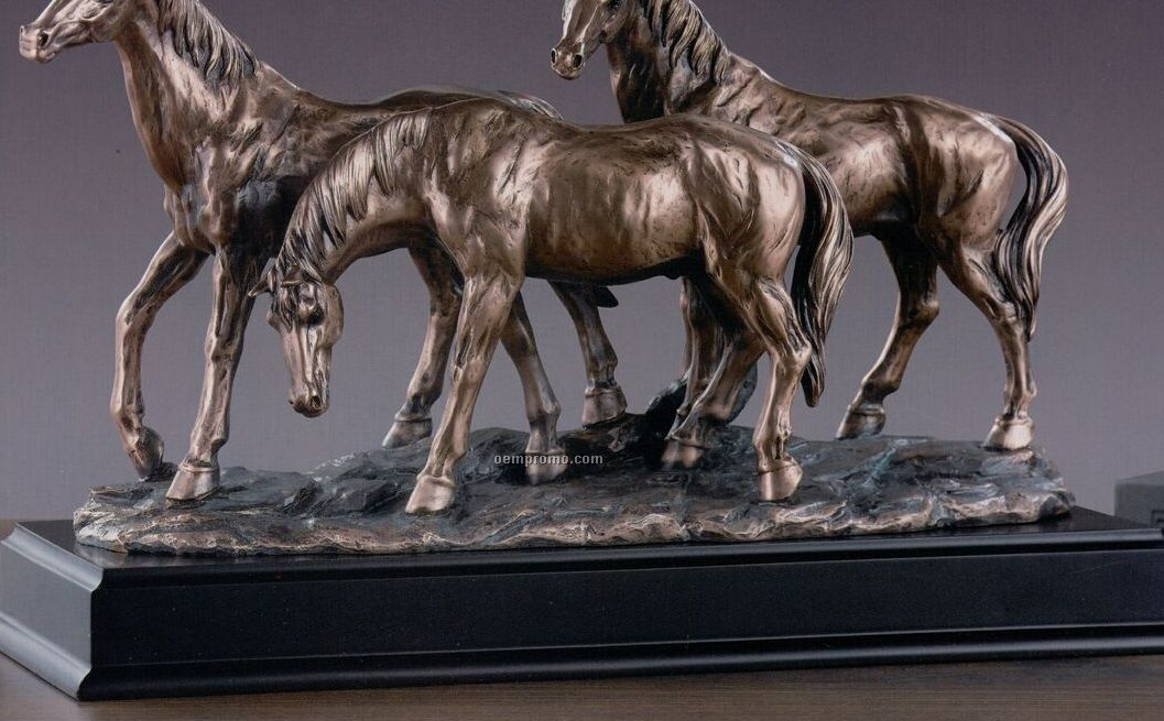 """Three Standing Horses Trophy - Rectangle Base (14.5""""X9.5"""")"""