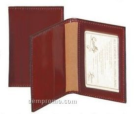 Walnut Italian Leather Business Card Case W/ Id Window