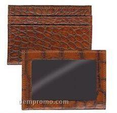 Walnut Italian Leather Credit Card/ Id Wallet