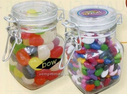 Mini Hinged Top Glass Jar W/ M&M's