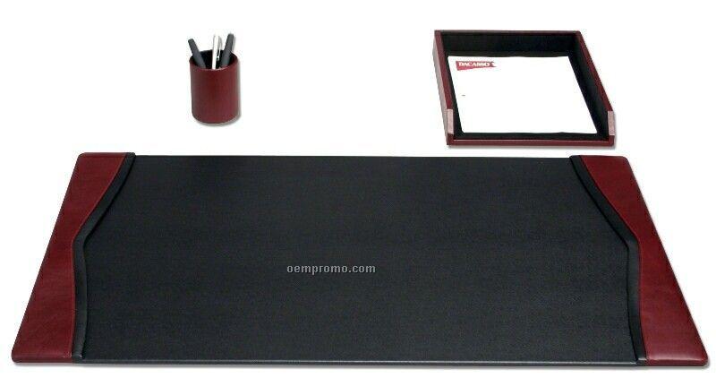 Burgundy Red 3 Piece Contemporary Leather Desk Set