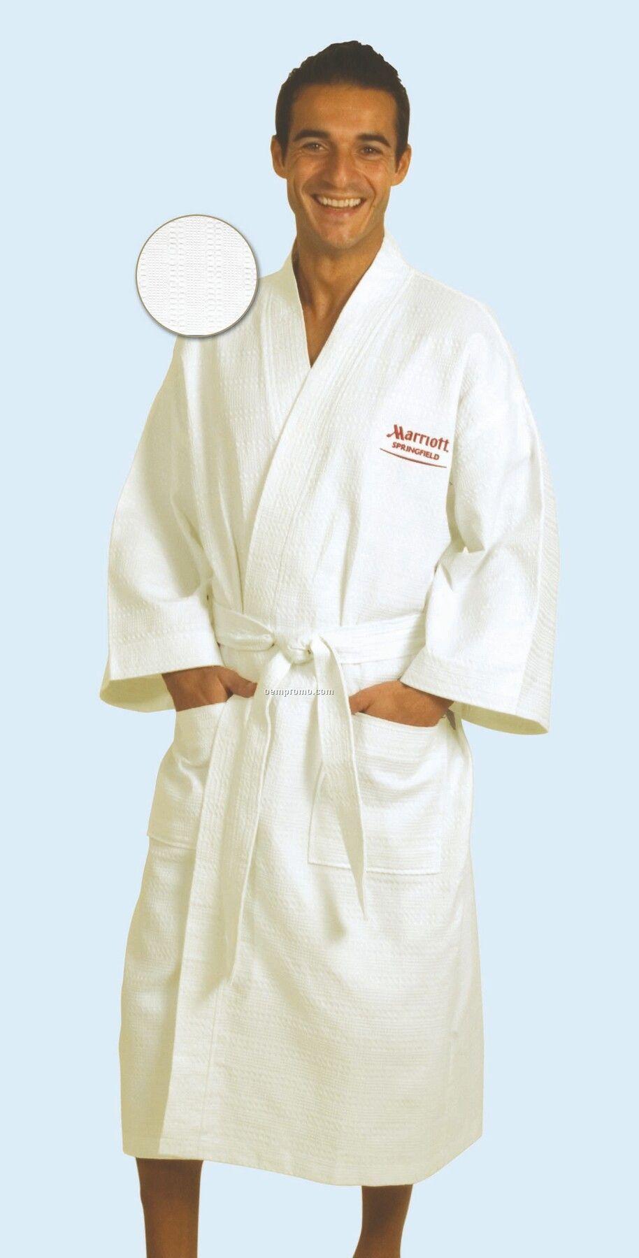 "Italian Waffle Weave Kimono Style Robe 50"" - Fits Up To 2xl (Blank)"