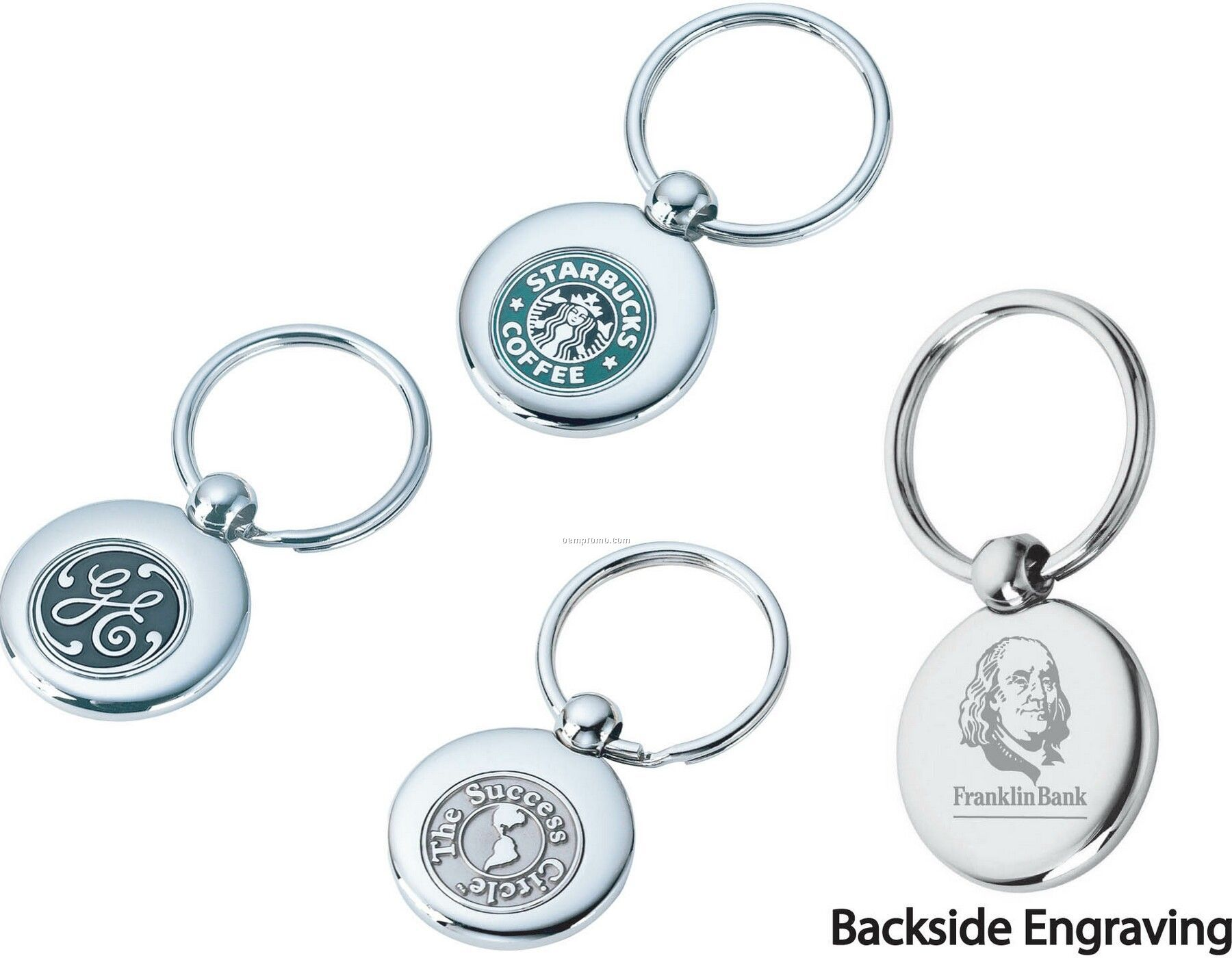Round Shiny Nickel 3d Swivel Rotating Split Key Ring
