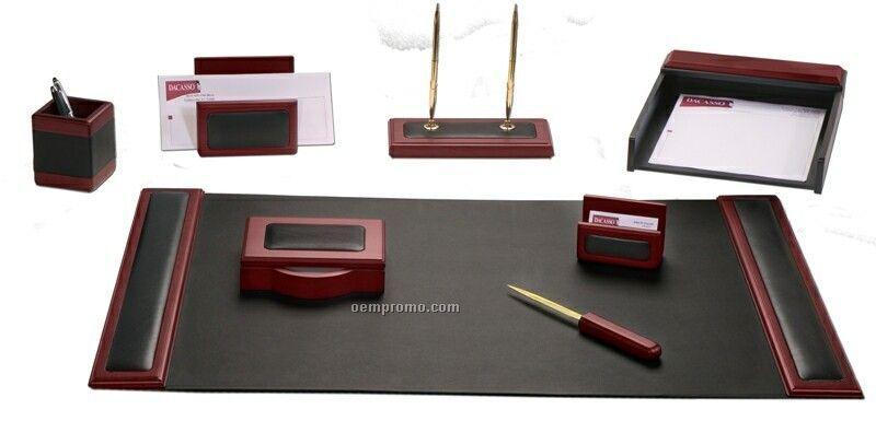 8 piece wood leather desk set w rosewood trim china - Cubre escritorio ...