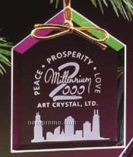 Crystal Clear Crystal House Ornament/ Deep Etch (3/16