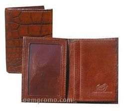 Black Ostrich Leather Gusseted Card Case