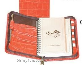 Brown Ostrich Calf Leather Zip Pocket Wired Planner